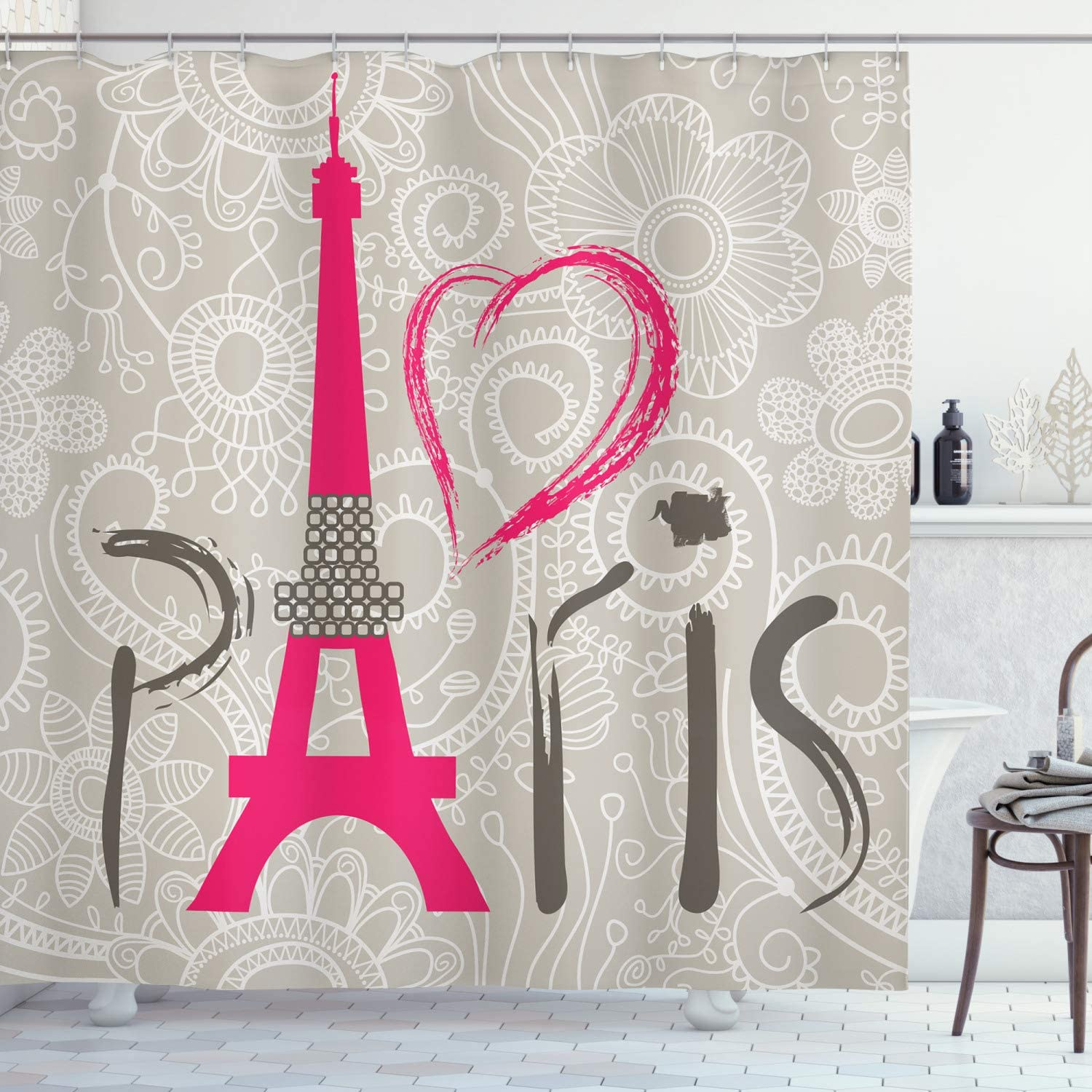 Ambesonne Eiffel Tower Shower Curtain Pa Challenge the lowest price of Japan favorite Love Paris I Lettering