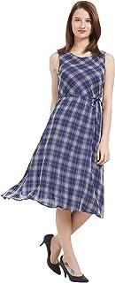 109 F Women Viscose Navy Checkered Sleeveless Dress