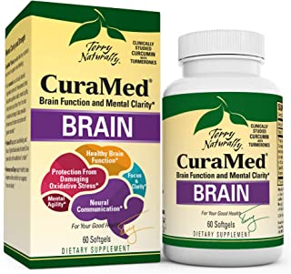 Terry Naturally Curamed Brain - 60 Softgels - BCM-95 Curcumin & Vitamin D3 Supplement, Supports Brain Health, Mental Clari...