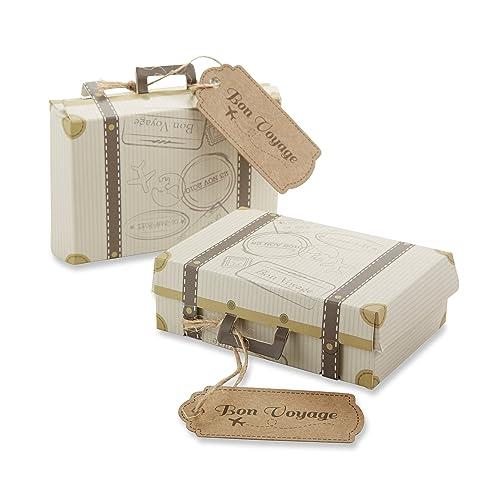 """Kate Aspen """"Bon Voyage Vintage Suitcase Favor Gift Box, Wedding/Party Decorations, Set of 24"""