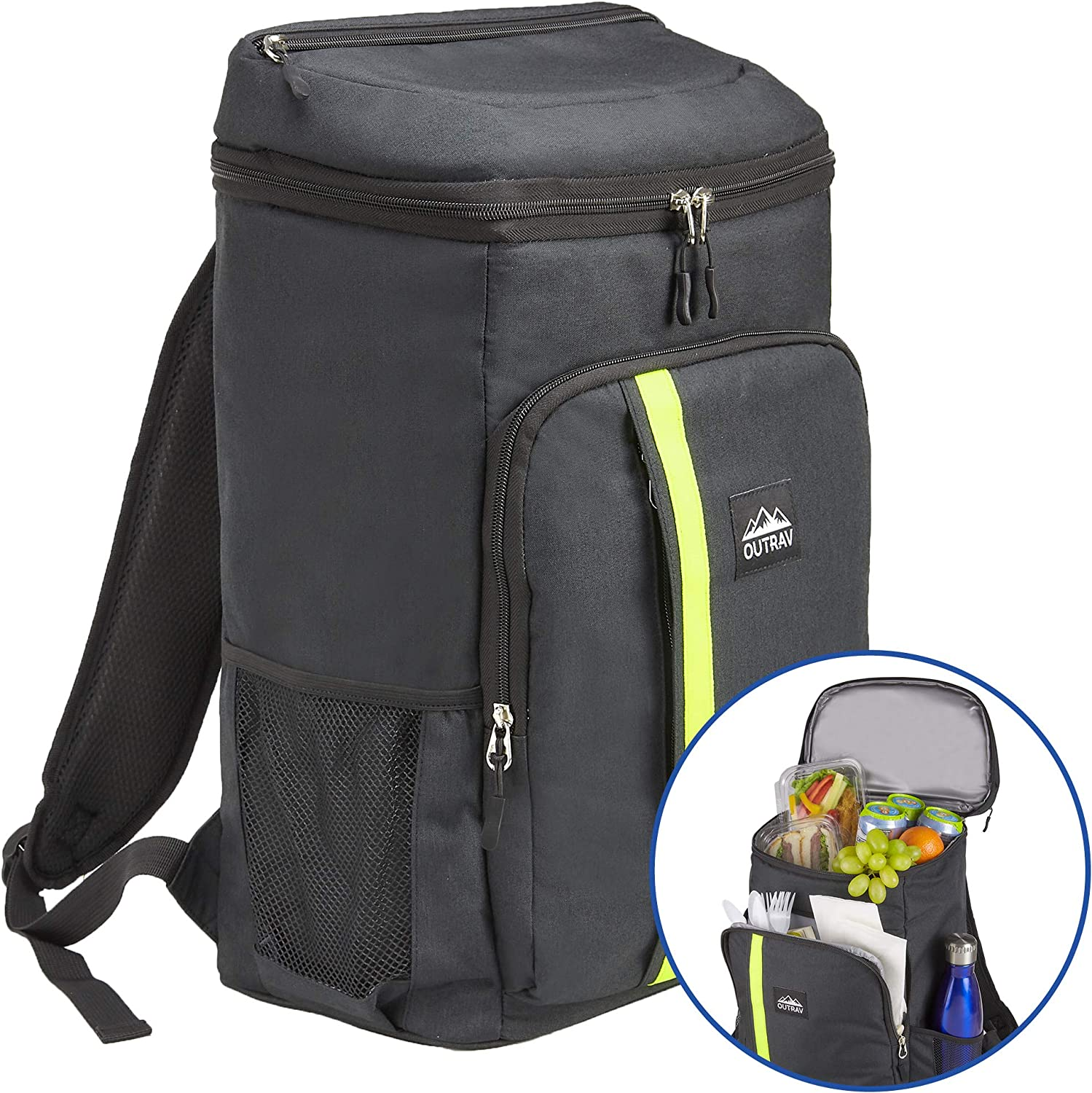 Outrav Camping Backpack Cooler  Fully Insulated Cooling Bag with Zippered Compartments, Mesh Pockets and Bottle Opener  24 Can Capacity
