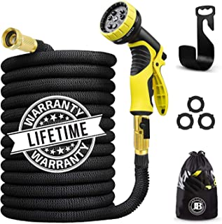 J&B XpandaHose 75ft Expandable Water Garden Hose with Holder - Heavy Duty Triple Layered Latex Core and Free 10 Spray Nozzle with Storage Bag - Light Weight Flexible and 3/4 Inch Solid Brass Ends (1)