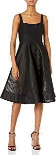 HALSTON HERITAGE Women's Sleeveless Wide Neck Dress with Stripe Mesh Skirt