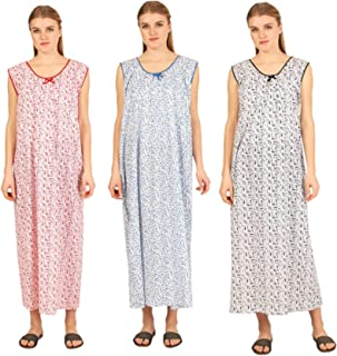CIERGE Women's Sleeveless Cotton Fabric Nighty (Multicolor, Free Size) Pack of 3