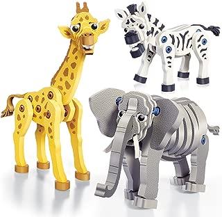 Bloco Toys Zebra, Giraffe & Elephant   STEM Toy   Zoo Wildlife Animals   DIY Educational Building Construction Set (230 Pieces)