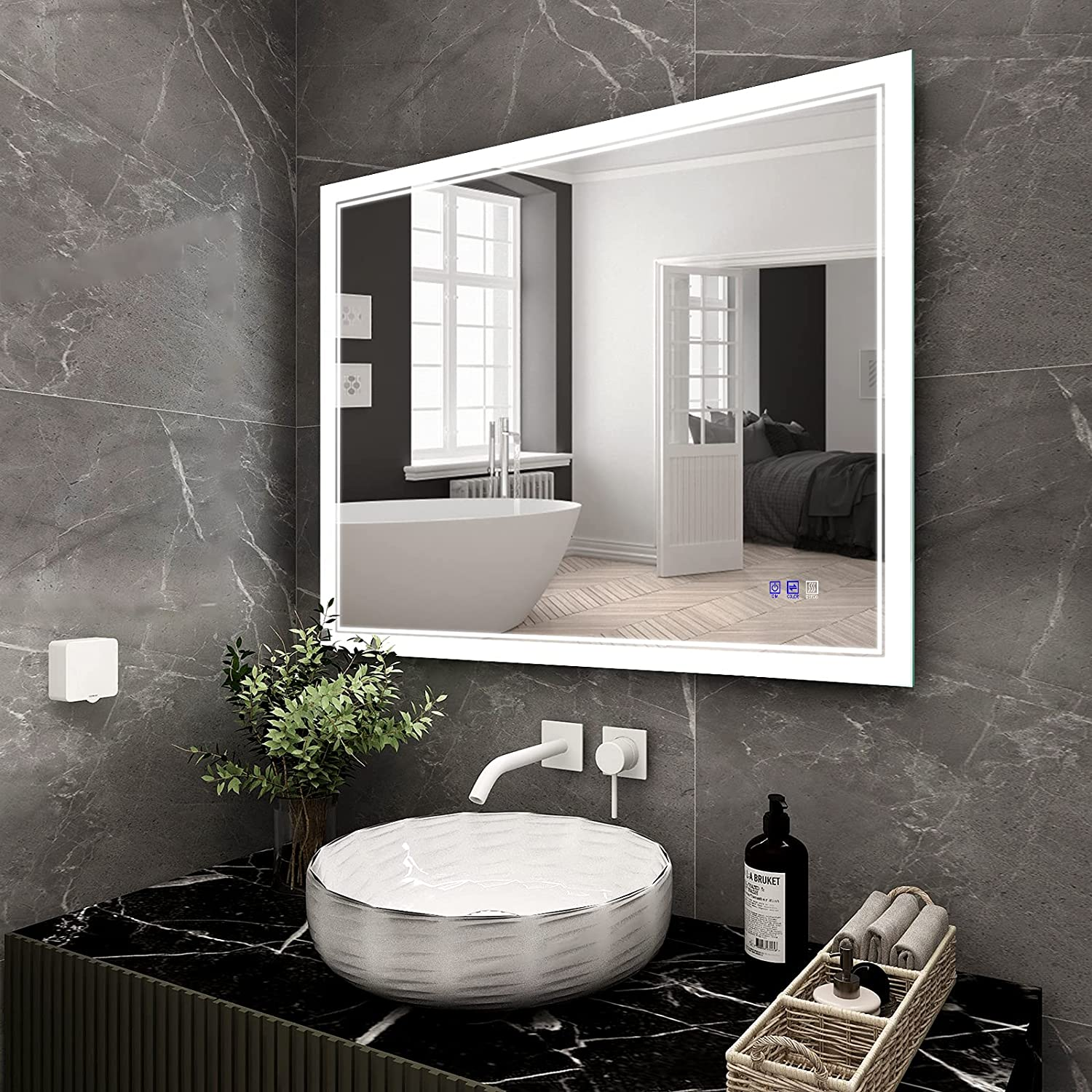 BATHTECHY 40x32 Inch LED Bathroom L Mounted At the price of surprise Wall Mirror Lighted 2021