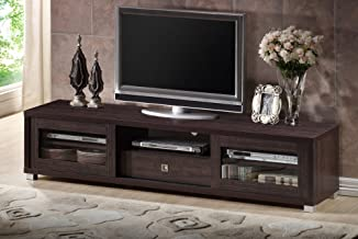 """Baxton Studio Wholesale Interiors Beasley TV Cabinet with 2 Sliding Doors and Drawer, 70"""", Dark Brown"""