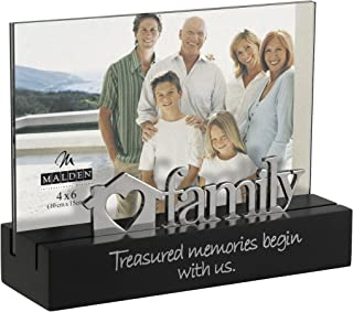 Malden International Designs Family Desktop Expressions with Silver Word Attachment Picture Frame, 4x6, Black