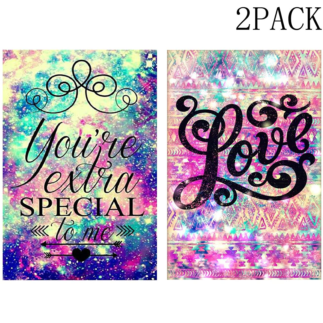 DIY 5D Diamond Paint by Number for Adults Kit,Colorful Starry Sky You're Extra Special to me and Love Wedding Gift Diamond Embroidery Paintings for Home Wall Decor 2PACK (11.8X15.7in-W25+W26)