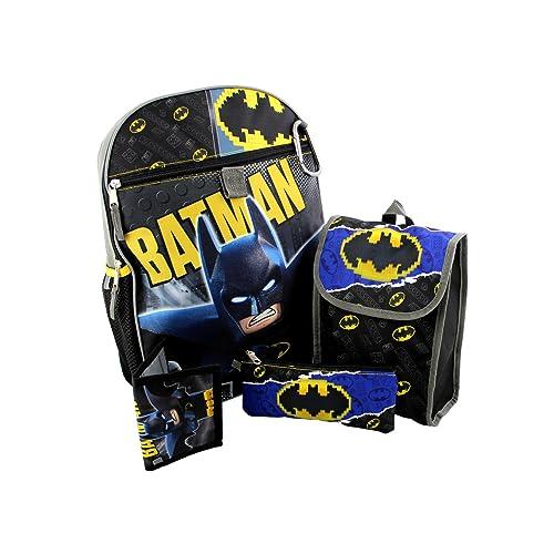 b0f64d7bc60 Lego Batman 5 piece Backpack School Set (One Size, Black Grey)