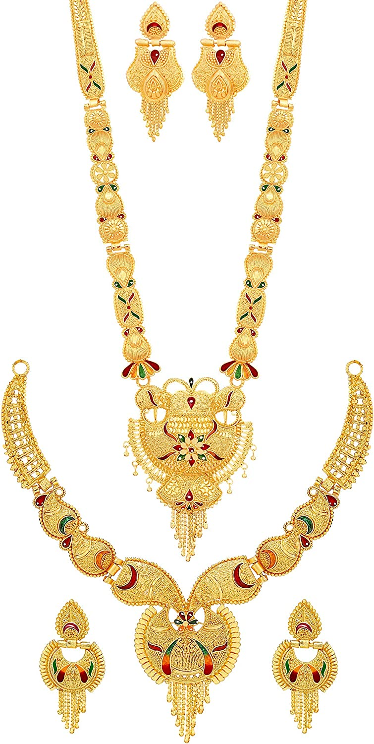 Combo of Two Party One Gram Gold Forming Premium Long Haram and Choker Multi Color Jewellery Necklace/Juelry/jwelry Set Jewellery for Women||Traditional Jewelry for Women Bridal Wedding Accessories