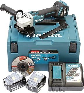 Makita DGA511RTJ Cordless Angle Grinder 18 V / 5.0 Ah, 2 Batteries and Charger in Makpac, Blue/Silver, Basic