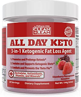 All Day Keto 3-in-1 Ketogenic Fat Loss Agent-Ignite Ketosis, Propel Your Keto Diet & Combat Keto Flu | MCT+Prebiotic+Electrolytes+Organic Energy & Mineral Complex|All Natural Gluten Free & Delicious!