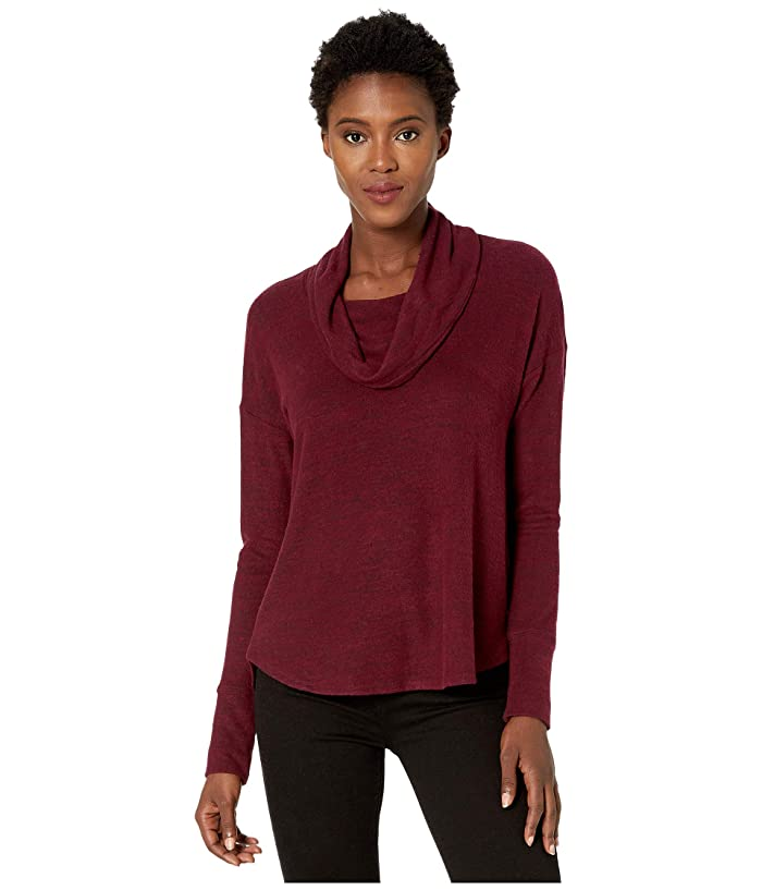 Lucky Brand  Cowl Neck Cloud Jersey Top (Tawny Port) Womens Clothing