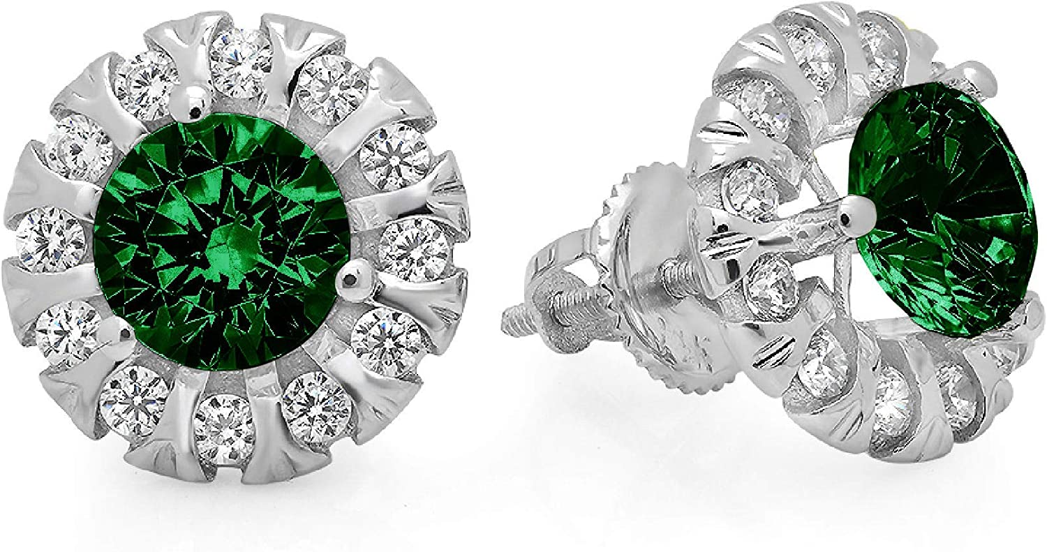 Clara Pucci 1.12 ct Brilliant Round Cut Halo Solitaire VVS1 Flawless Simulated Emerald Gemstone Pair of Solitaire Stud Screw Back Earrings Solid 18K White Gold