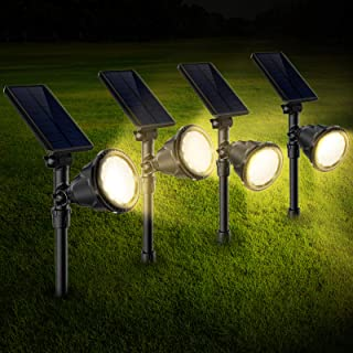 Best Outdoor Solar Landscape Spot Lights,Waterproof Solar Powered Spotlights with Ground Spike 2-in-1 Adjustable Landscaping Light for Path Driveway Pool Patio Wall Porch Trees Flags Warm White,4 Pack Review