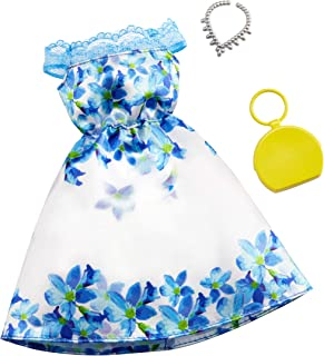 Barbie Clothes: White and Blue Floral Dress, Plus 2 Accessories Dolls, Gift for 3 to 7 Year Olds, Multicolor (GHW79)