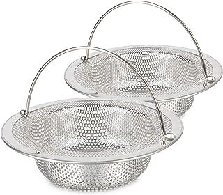 2 PCS Kitchen Sink Strainer Basket Catcher(With Handle), 4.33 inch Diameter Sink Drain Strainer, Stainless Steel Rust Free...