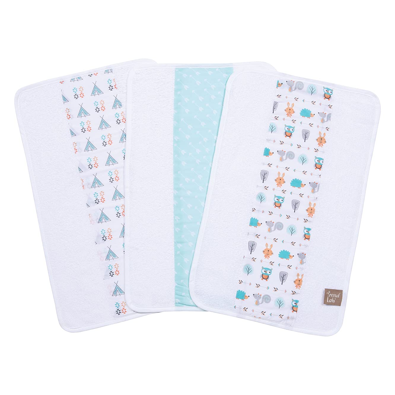 Trend Lab Forest Babies 3 Piece Jumbo Burp Cloth Set, Multi