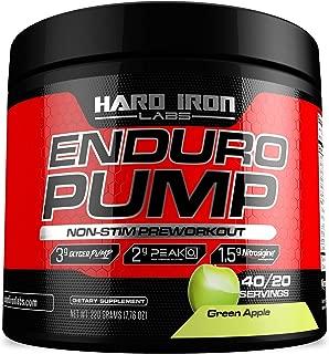Enduro Pump - Non Stim Preworkout - Massive Pumps - Nitric Oxide Booster- 40/20 Servings - Green Apple Flavor