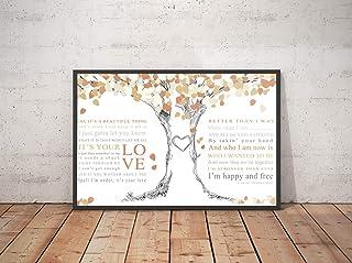 "Trendora Decor It`s Your Love Song Lyrics Landscape Poster Print (18"" x 12"")"