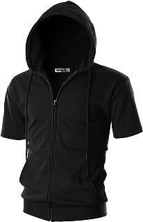 Ohoo Mens Slim Fit Short Sleeve Lightweight Zip-up Hoodie With Kanga Pocket