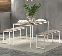 """Rhomtree 3 Pieces Dining Set Table with 2 Benches Kitchen Dining Room Furniture 47.6""""L x 29.9""""W Modern Style Wood Table To..."""