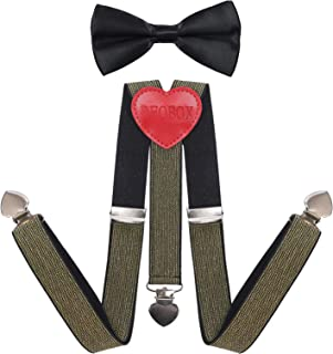 DEOBOX Boys' Girls' Bow Tie & Suspenders Set Pre-tied Adjustable