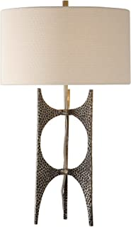 My Swanky Home Modern Hammered Bronze Metal Sculpture Table Lamp   Open Abstract Mid Century