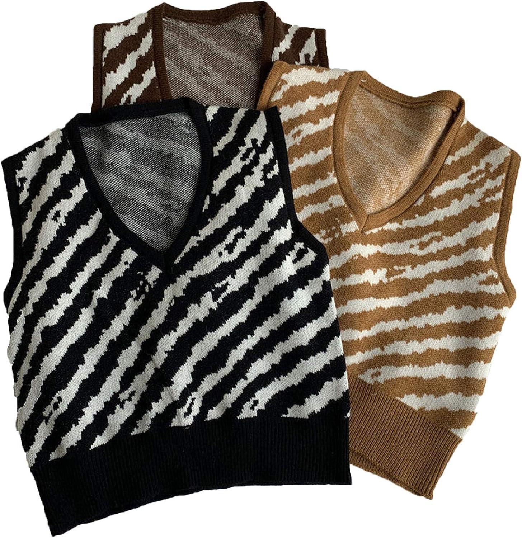 Women Oversized Knitted Sweater Vest V-Neck Sleeveless Stripe Loose Female Chic Tops Y2K Sweater