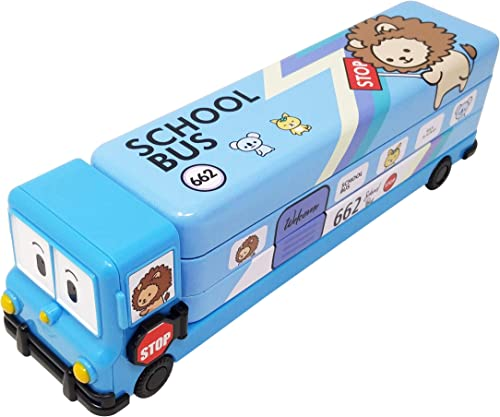 Parteet Multicolour Cartoon Printed School Bus Matal Pencil Box with Moving Tyres and Sharpner for Kids Blue