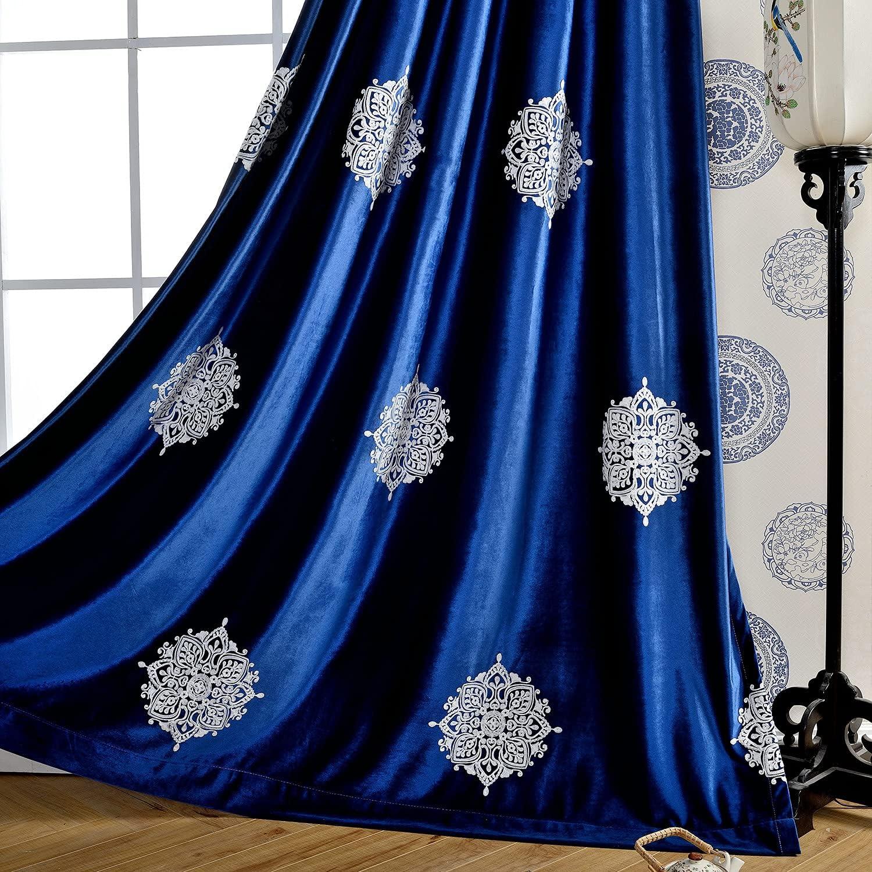Leeva Velvet Curtains for Bedroom Privacy low-pricing Dar Elegant Blue Room Ranking TOP3