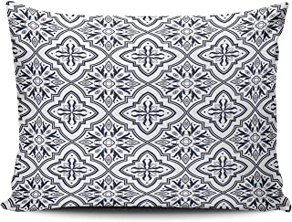 AIHUAW Home Decorative Cushion Covers Throw Pillow Case Italian Tile Flower Navy Blue Pillowcases Queen 20x30 Inches One Sided Printed (Set of 1)