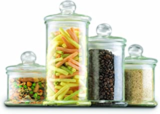 Anchor Hocking Apothecary Jar Canister Set with Ball Lid, 4-Piece Set, Clear Glass - 27476