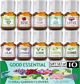 Floral Ocean Gardens Good Essential Fragrance Oil Set (Pack of 10) 5ml Set Includes Lavender, Rose, Jasmine, Lilac, Lotus,...
