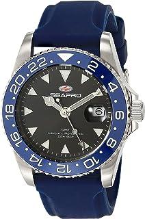 Seapro Men's Agent Stainless Steel Quartz Rubber Strap, Blue, 20 Casual Watch (Model: SP0122BL)