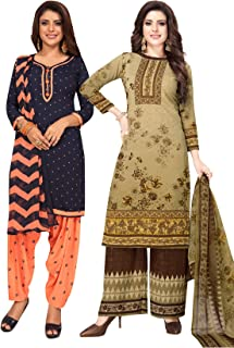 S Salwar Studio Women's Pack of 2 Synthetic Printed Unstitched Dress Material Combo-MONSOON-2868-2890