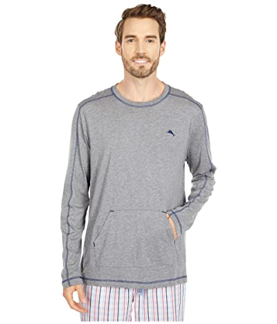 Tommy Bahama Long Sleeve T-Shirt with Pocket (Heather Grey) Men