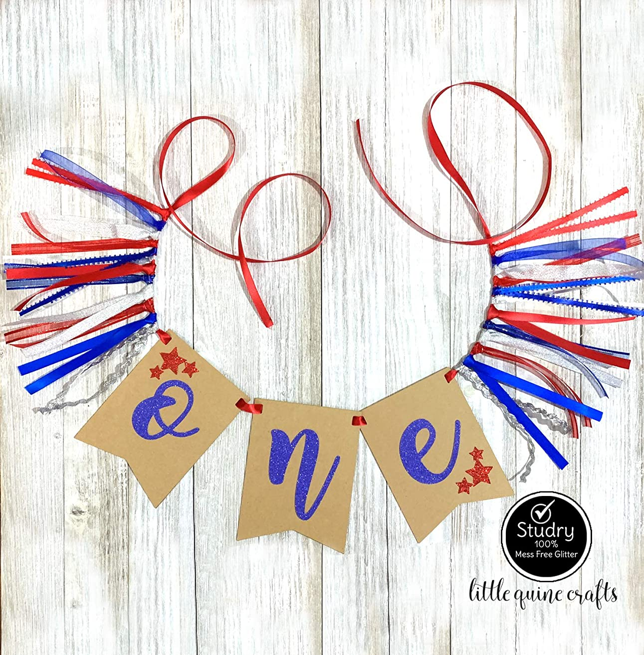 1 pc ONE star patriotic red blue silver rag tie High Chair Banner cake smash Party Photo prop wanderlust First Birthday Kraft 4th of July Independence Day