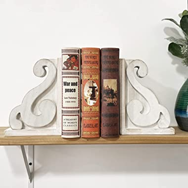GENMOUS & CO. Rustic Distressed Vintage Scroll Corbel Bookends Farmhouse Whitewashed Wood Decorative Bookends, Set of 2