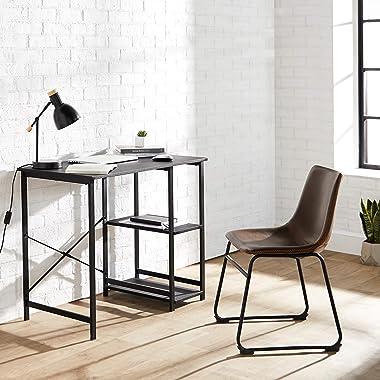 Amazon Basics Classic, Home Office Computer Desk With Shelves, Black