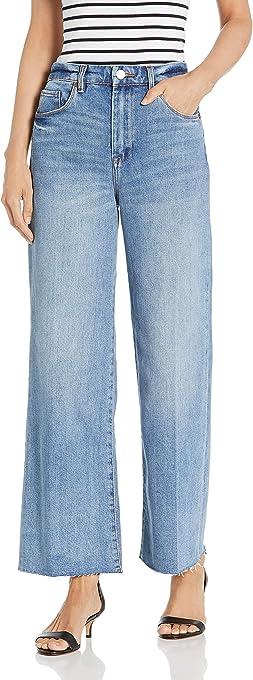 [BLANKNYC] Women's Wide Leg Medium Wash High Rise Crop Jean