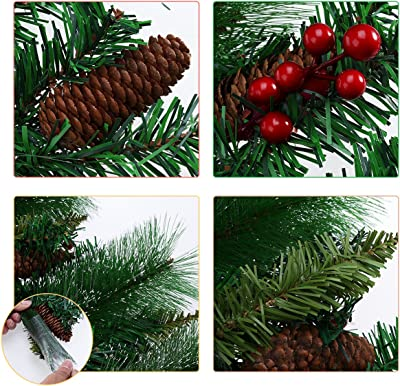 TINKSKY Christmas Wreath Decorative Garland with Pine Cone Acorn Pine Needle LED Lights for Home Decoration Photo Booth Props