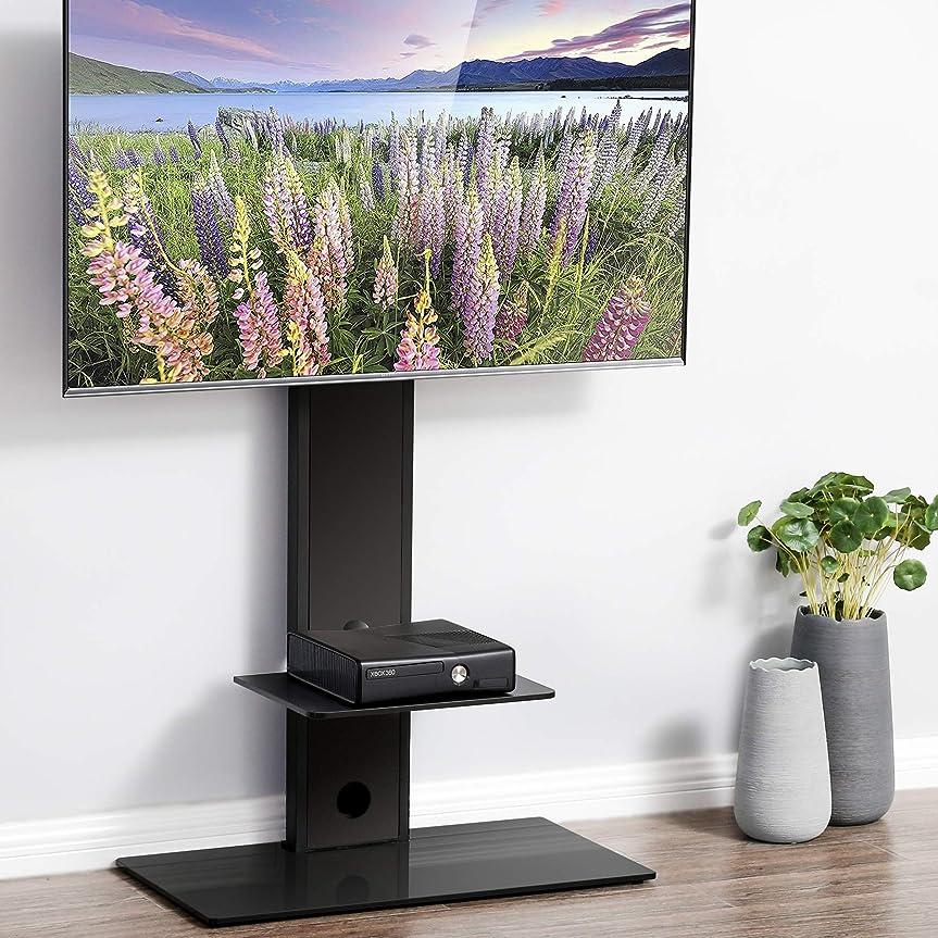もう一度またはどちらか半ばFITUEYES テレビスタンド 32~65インチ対応 壁寄せテレビスタンド 高さ調節可能 ラック回転可能 棚付き ブラック TT207501MB