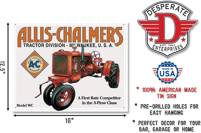 Allis Chalmers Milwaukee TIN SIGN tractor farm logo rustic vtg metal decor 1503