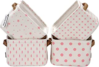 Sea Team Foldable Mini Square New Pink and White Theme 100% Natural Linen & Cotton Fabric Storage Bins Storage Baskets Org...