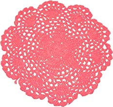Laivigo New Handmade Crochet Cotton Lace Round Table Placemats Doilies Doily,4PCS,7 Inch,Red
