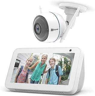 Echo Show 5 – Bianco +EZVIZ ezTube 1080p Telecamera di sicurezza, compatibile con Alexa