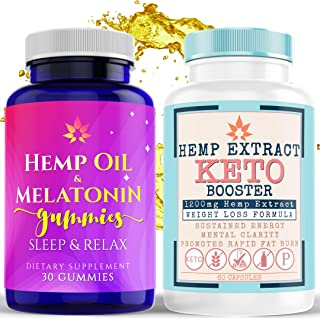 Hemp Capsules with BHB Keto Salts + Hemp Gummies with Melatonin - Helps Promote Overall Health, Weight Loss, Improve Sleep...