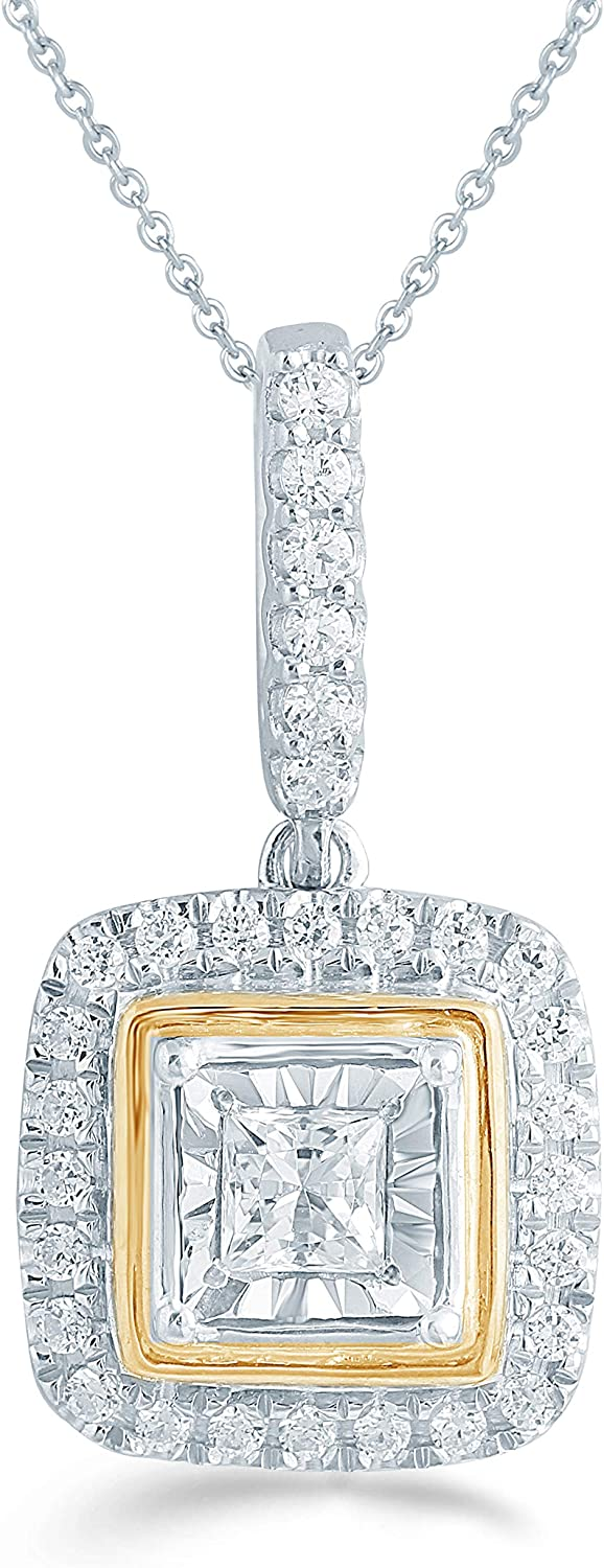 Fifth and Fine 1 4ct tw in Pendant Cushion Max 73% OFF quality assurance Diamond Fashion Sterl